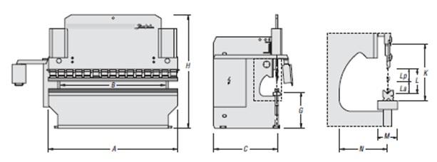 Medidas de plegadora de chapa Baykal APH 3100x160t